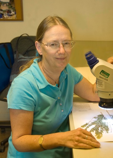 Susan at microscope